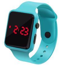 Relógio Digital De Led Quadrado Pulseira Bracelete Adulto Infantil Verde água - Sm