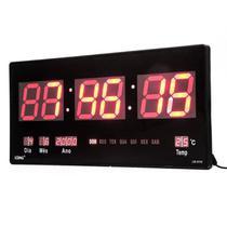 Relógio Digital de Parede Led Grande Data Termômetro - Lelong