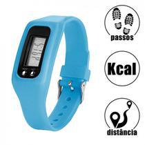 Relogio Digital de Pulso em Silicone com Contador de Passos, Calorias e Distancia Azul  Liveup -