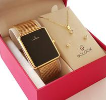 Relogio Digital Feminino Champion Dourado Quadrado + Kit Colar e Brincos -