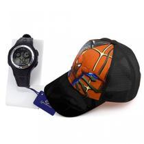Relógio Digital Infantil Sport Alarme + Boné Homem Aranha - Preto - Orizom