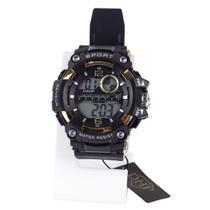 relógio digital masculino pulseira ajustável silicone e cronometro e alarme - Orizom