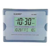 Relogio Digital Parede e Mesa Termômetro Despertador Cor Cinza - Kadio
