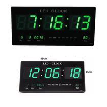 Relógio Digital Parede Painel Led Termômetro 46cm Decoração Casa Sala Escritório Cozinha Quarto -