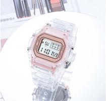 Relógio Digital Transparente com LUZ LED Calendário Cronometro Rosa - Qian