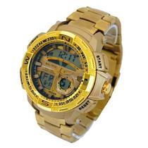 Relógio Dourado Funcional Aço Inoxidável Analógico/Digital - Intimes