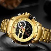 Relógio Dourado Masculino Naviforce NF9163 Digital/Analógico + Caixa Estojo em acrílico -