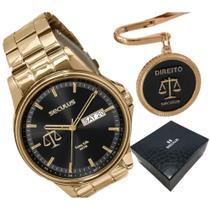 Relógio dourado mostrador preto seculus direito - 35013GPSKDA1 LONG LIFE COM MARCA PAGINA -