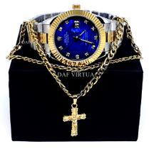 Relógio Dourado Prata Rose Azul + Corrente Banhada + Cruz + Caixa - Sm