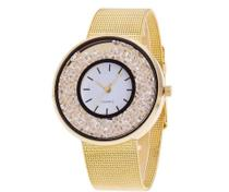Relógio Dourado Redondo Pedras Strass  Pulseira aço + Caixa Estojo + Bateria Reserva - Oea
