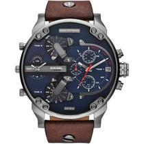 Relógio Dz7314 cinza fundo azul couro - Diesel
