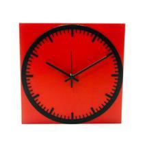 Relógio Estação Vermelho Decoração Sala Cozinha - Az Design