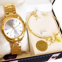 Relógio Feminino Allora Analógico Dourado + Brinde AL2035FBX/K4B -