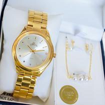 Relógio Feminino Allora Analógico Dourado + Kit Colar e Brincos AL2035FBW/K4D -