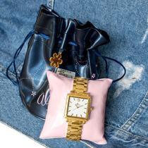 Relógio Feminino Allora Analógico Quadrado Dourado + Kit Colar e Brincos AL2035EZV/4B -
