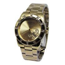 20e3d449792 Relogio feminino atlantis g3320 dourado fundo dourado