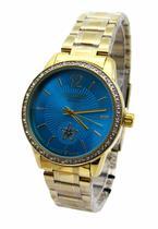 def5c333a4b Relogio feminino atlantis g3471 dourado fundo azul