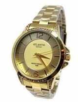 3e7516557a8 Relogio feminino atlantis g3478 dourado fundo dourado