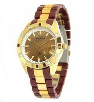 Relógio feminino backer munich marrom com cristais 3973134f -