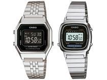 Relógio Feminino Casio Digital Vintage 2 Unidades - LA680WA-1BDF Prata + LA670WA-1DF Prata