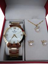 Relógio Feminino Champion Analógico Social Cn29169b + Kit Colar E Brincos -