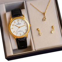 Relógio Feminino Champion Couro Preto CH22251M Kit Colar E Brincos -