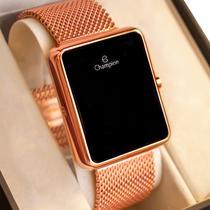 Relógio Feminino Champion Digital Quadrado Rosé CH40080H Led Rosa Garantia de Um Ano -