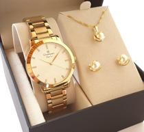 Relógio Feminino Champion Dourado CN25261H + Kit Colar E Brincos -