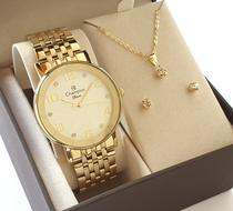Relógio Feminino Champion Dourado CN26671H + Kit Colar E Brincos -