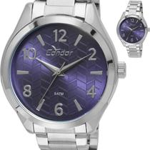 Relógio Feminino Condor Prateado Mostrador Azul CO2036KSX/3G -