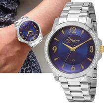 Relógio Feminino Condor Prateado Strass Grande Co2035kon 3a -