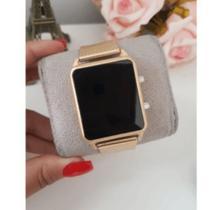 Relógio Feminino Digital Led Quadrado Dourado & Rose - Quartz