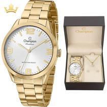 7c3784fa7 Relógio Feminino Dourado Champion Cn29892z + Kit Bijouteria -