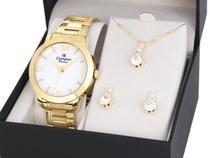 Relógio Feminino Dourado Champion Kit CN29169B -