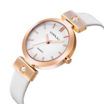 Relógio Feminino Dourado De Pulso Quartz Pulseira De Couro - Crrju