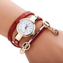 Relogio Feminino Dourado Pulseira Bracelete 3 Voltas Com Strass - Senors