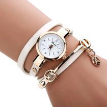 Relógio Feminino Dourado Pulseira Em Couro Bracelete Strass - Senors