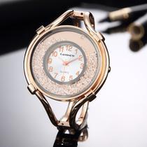 Relógio Feminino Dourado Quartz modelo Pedras Brilhantes - Cansnow