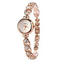 Relógio Feminino Dourado Quartz Pulseira Com Pedras E Strass - Lvpai