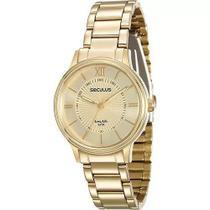 Relógio Feminino Dourado Seculus Long Life 28669LPSVDA1 -