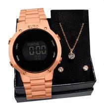 Relógio Feminino Euro Fashion Fit EUBJ3279AF/4J Rosé Gold + Colar e Brincos -