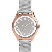 Relógio feminino euro prata c/ rose eu2039jj/5k -
