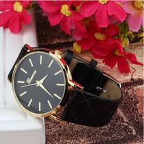 Relógio feminino geneva adulto cor preto -