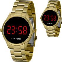 Relógio Feminino Lince Dourado Redondo Led Vermelho Mdg4618l Vxkx -