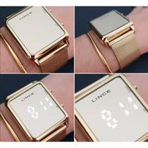Relógio Feminino Lince Led Dourado Original MDG4619L BXKX -