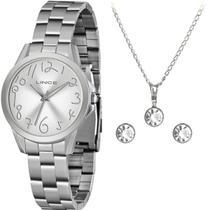 Relógio Feminino Lince Prateado Kit Colar e Par de Brincos Prova dÁgua Original LRMH124L KX39 -
