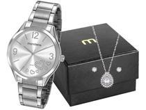 Relógio Feminino Mondaine Analógico - 53821L0MVNE2K1 Prata com Acessórios