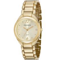 Relógio Feminino Mondaine Dourado Quartz Pulseira Aço Inox -