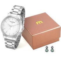 Relógio Feminino Mondaine Original Prateado Kit com Brincos -