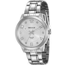 Relógio feminino prateado seculus analógico 20414L0SVNA2 -